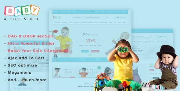 Baby Store – DRAG & DROP, clean, responsive Shopify themes