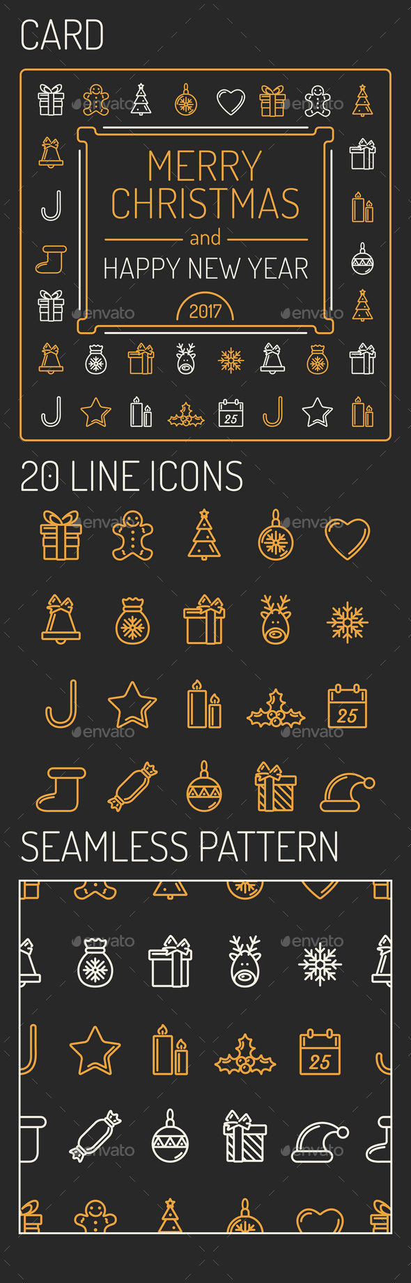 Christmas Card, 20 Icons and Pattern - Seasonal Icons