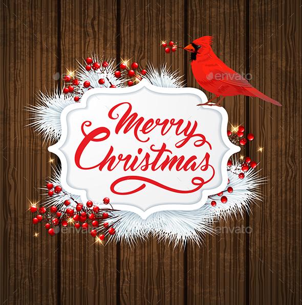 Christmas Banner with Cardinal Bird - Christmas Seasons/Holidays