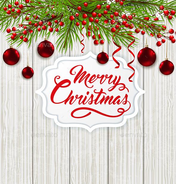 Christmas Banner and Red Decorations - Christmas Seasons/Holidays