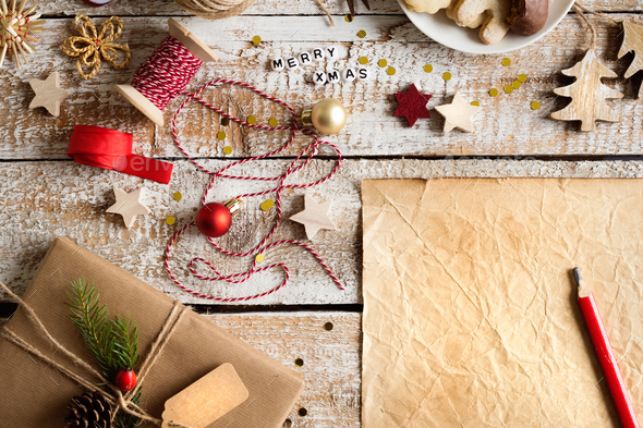 Christmas composition, studio shot, wooden background.Copy space - Stock Photo - Images
