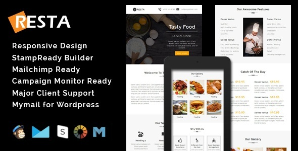 Image of RESTA - Responsive Restaurant Email Template + Stamp Ready Builder