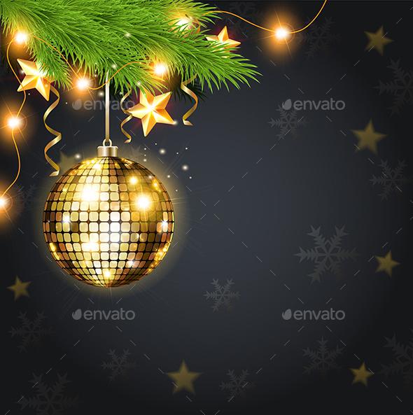 Golden Decoration and Green Fir - Christmas Seasons/Holidays