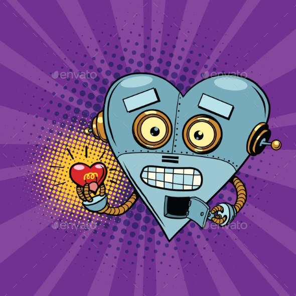 Retro Robot and the Light Bulb Heart Valentine - Valentines Seasons/Holidays
