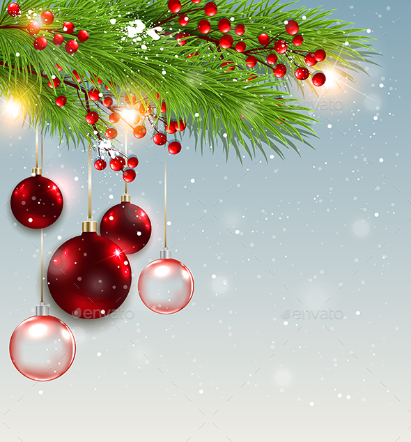 Green Fir Branch and Red Decorations - Christmas Seasons/Holidays