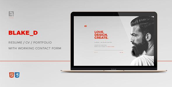 BlakeD – Portfolio & Resume Template
