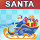 Blue Santa Riding On Reindeer Sled