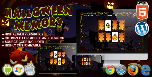 Halloween Memory - HTML5 Puzzle Game - CodeCanyon Item for Sale