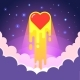 Burning Heart Lunches Into Space with Love - GraphicRiver Item for Sale