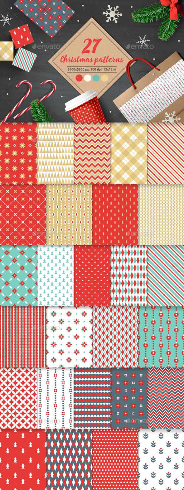 27 Christmas Seamless Patterns - Patterns Decorative