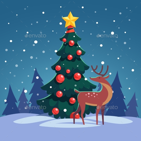 Christmas Tree with Wild Reindeer in the Forest - Christmas Seasons/Holidays