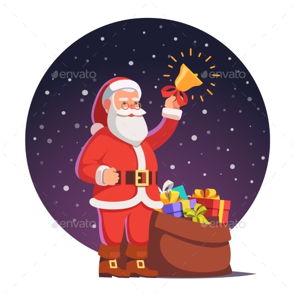 Santa Claus with Sack Full of Gifts - Christmas Seasons/Holidays