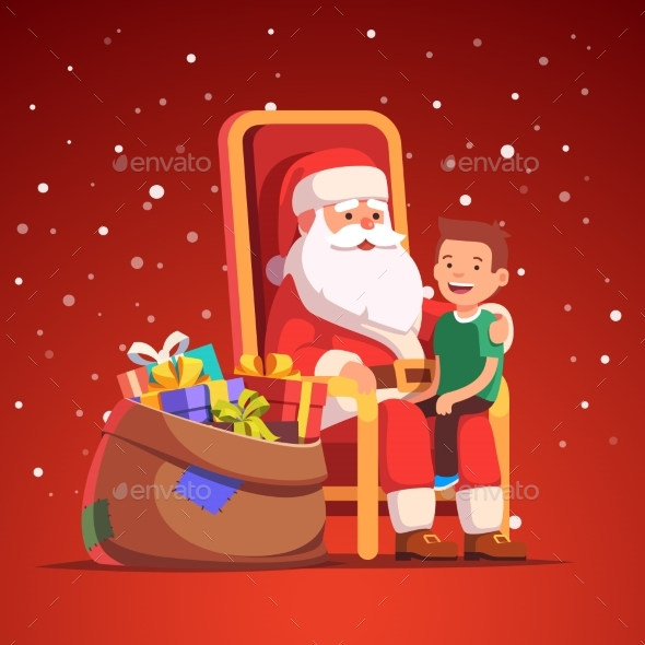 Santa Claus Holding Little Smiling Boy on His Lap - Christmas Seasons/Holidays