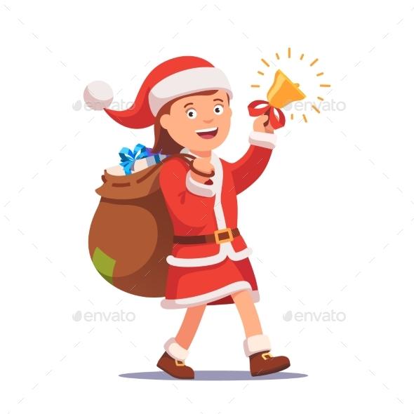 Little Girl Kid Dressed Like Santa Claus - Christmas Seasons/Holidays