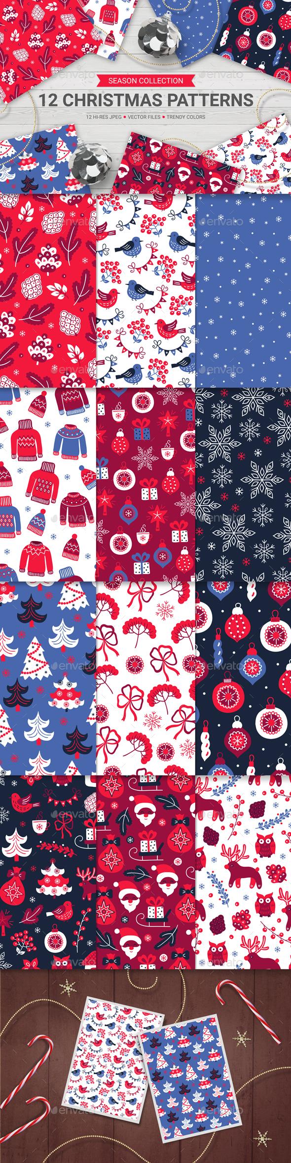 12 Christmas Seamless Patterns - Christmas Seasons/Holidays
