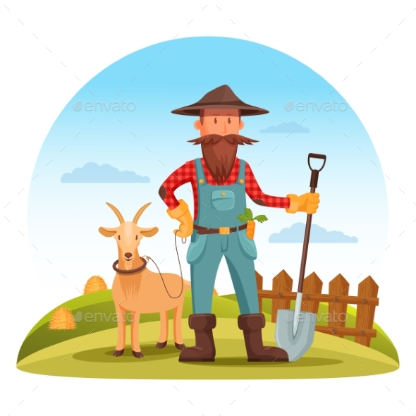 Farmer Man with Spade and Goat on Field - People Characters