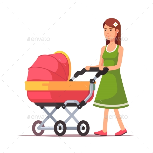 Woman Walking with Her Child in a Pink Pram - People Characters