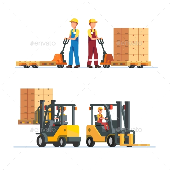 Warehouse Workers Working with Forklifts - People Characters