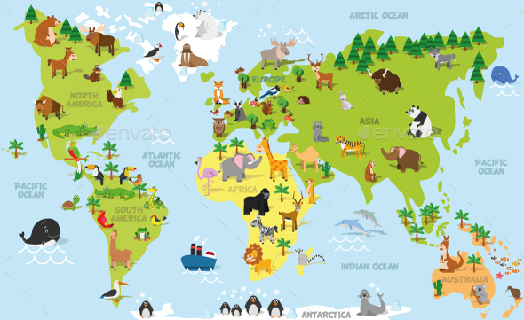 Cartoon World Map with Animals - Travel Conceptual