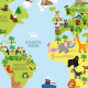 Cartoon World Map with Animals - GraphicRiver Item for Sale