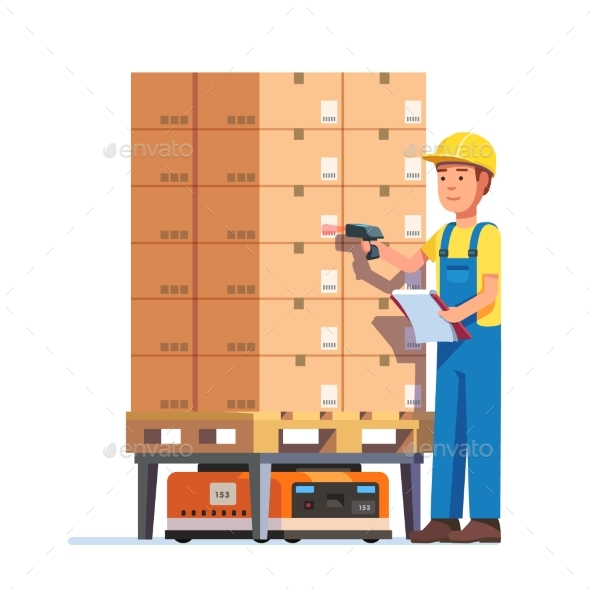 Warehouse Worker Checking Goods Pallet - People Characters