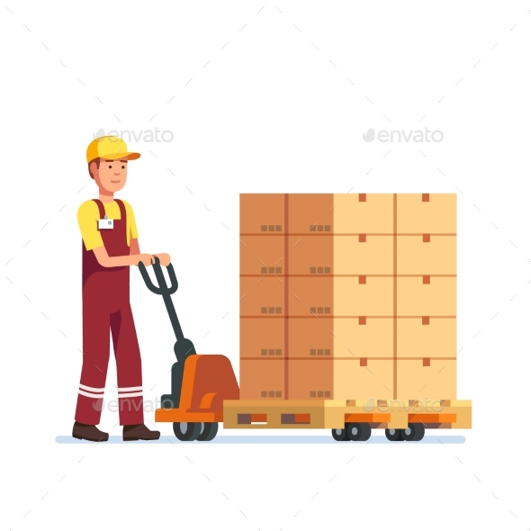 Warehouse Worker Man Towing Hand Fork Lifter - People Characters