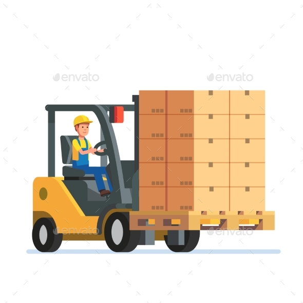 Forklift Truck Carrying a Stacked Boxes Pallet - People Characters