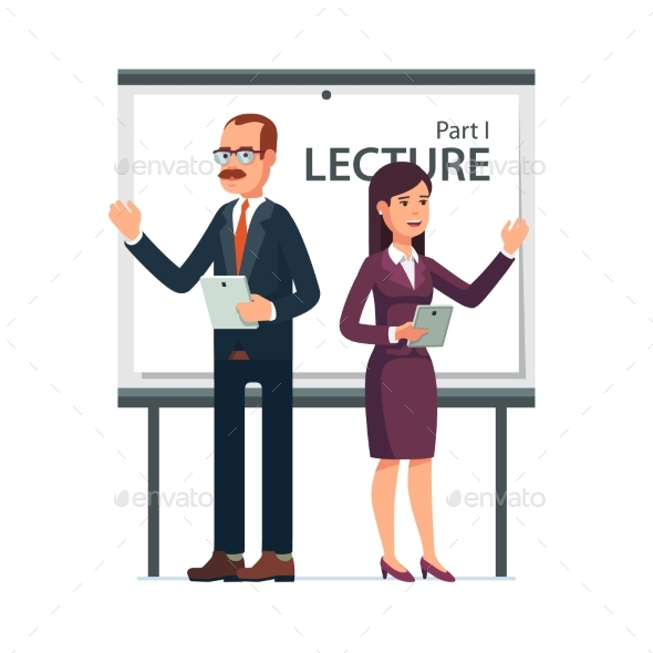 Modern Business Teachers Giving a Lecture - Business Conceptual
