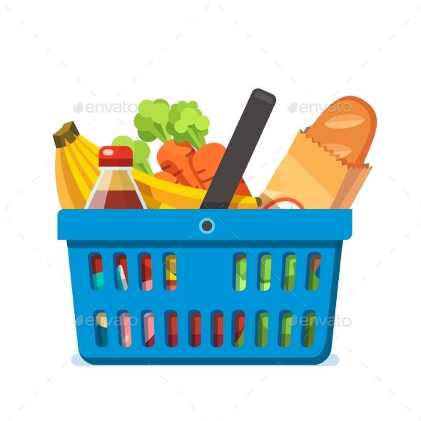 Shopping Basket Full of Fresh Groceries. - Retail Commercial / Shopping