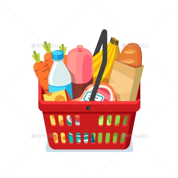 Shopping Basket Full of Groceries - Retail Commercial / Shopping
