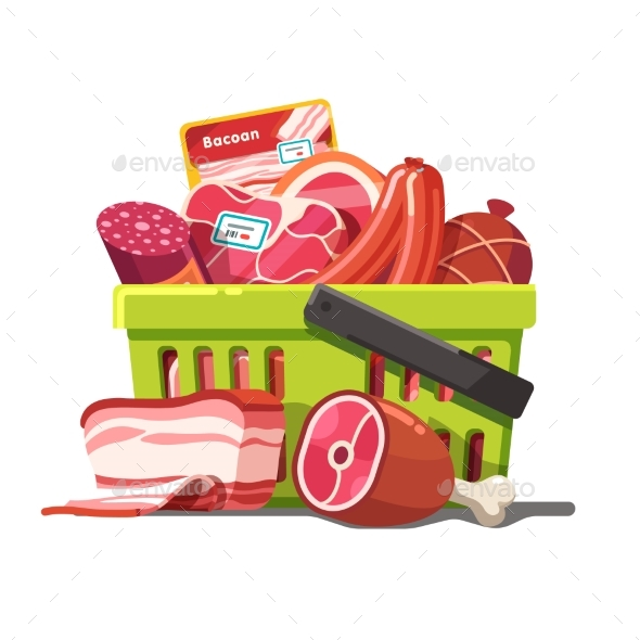 Shopping Basket Full of Meat. Raw and Prepared - Retail Commercial / Shopping