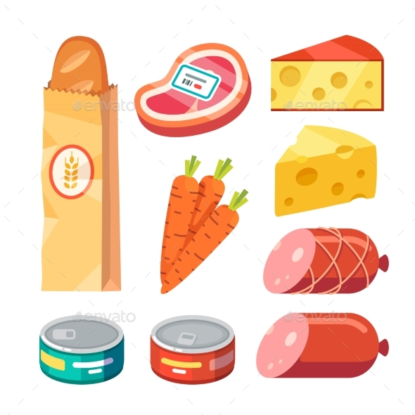 Fresh and Cooked Meat, Cheese, Canned Food - Food Objects