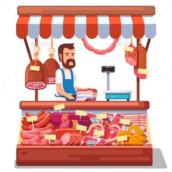 Local Market Farmer Selling Fresh Meat - Food Objects