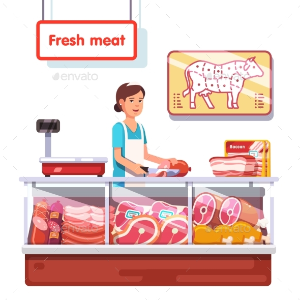 Fresh Meat Stand in a Supermarket - Food Objects