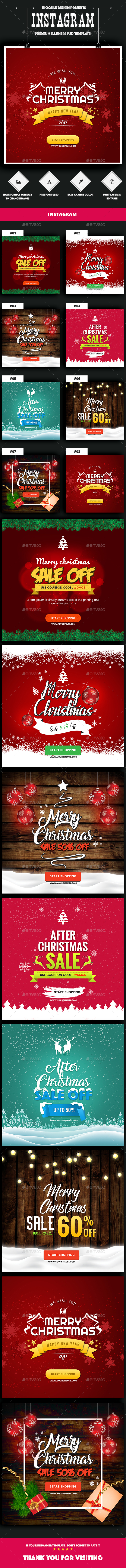 Instagram Merry Christmas Banners Ad - 08 PSD - Social Media Web Elements