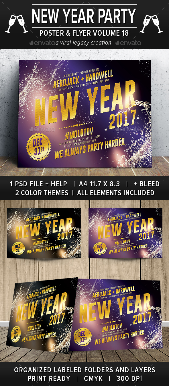 New Year Party Poster / Flyer V18 - Flyers Print Templates