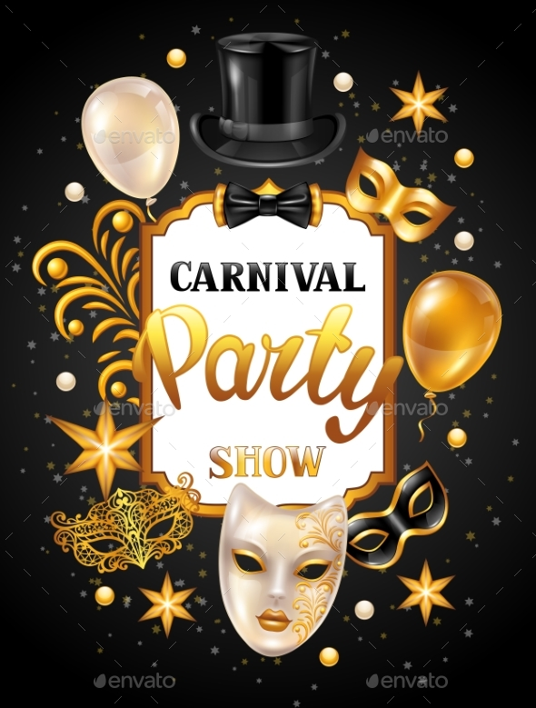 Carnival Invitation Card with Gold Masks - New Year Seasons/Holidays