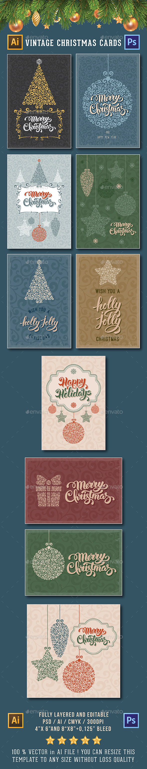 Vintage Christmas Cards - Cards & Invites Print Templates