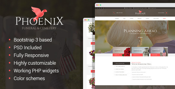Phoenix - Funeral Service, Funeral Home & Cemetery HTML Template
