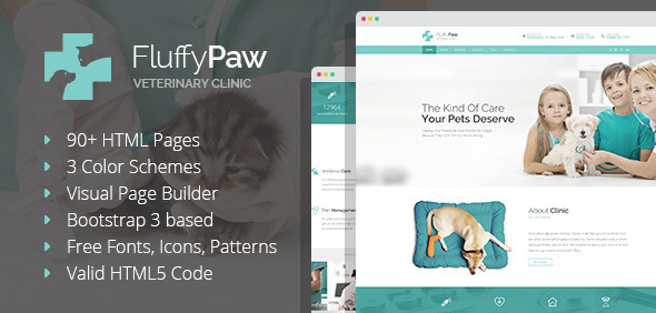 FluffyPaw - Pet Care and Veterinary HTML Template with Visual Page Builder