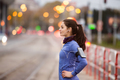 Young woman in blue sweatshirt running in the city - PhotoDune Item for Sale