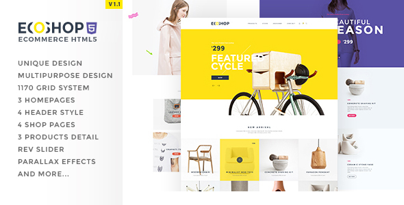 ECOSHOP - Multipurpose eCommerce HTML5 Template - Retail Site Templates