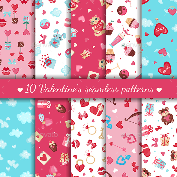 Seamless Patterns for Saint Valentine's Day Design - Valentines Seasons/Holidays