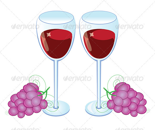Red wine glass with Grapes  - People Characters