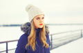 Fashion winter portrait blonde woman wearing a jacket and knitte - PhotoDune Item for Sale