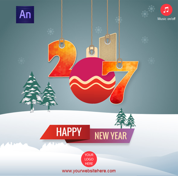 Happy New Year 2017 Greeting Card by waqasali201 | CodeCanyon