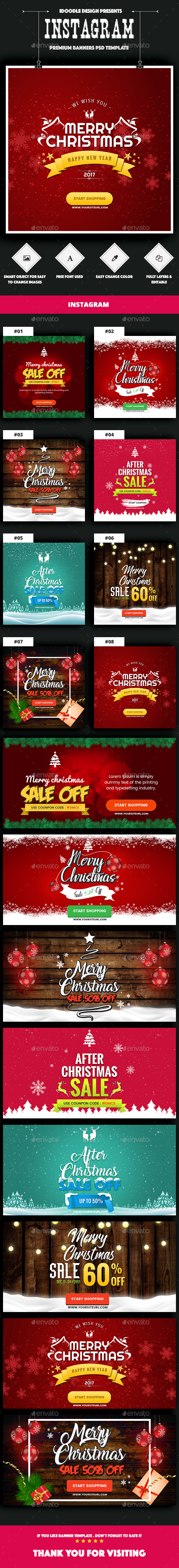 NewsFeed Merry Christmas Banners Ad - 16 PSD [02 Size Each] - Banners & Ads Web Elements