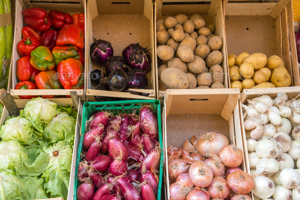 Vegetables in boxes for sale - Stock Photo - Images