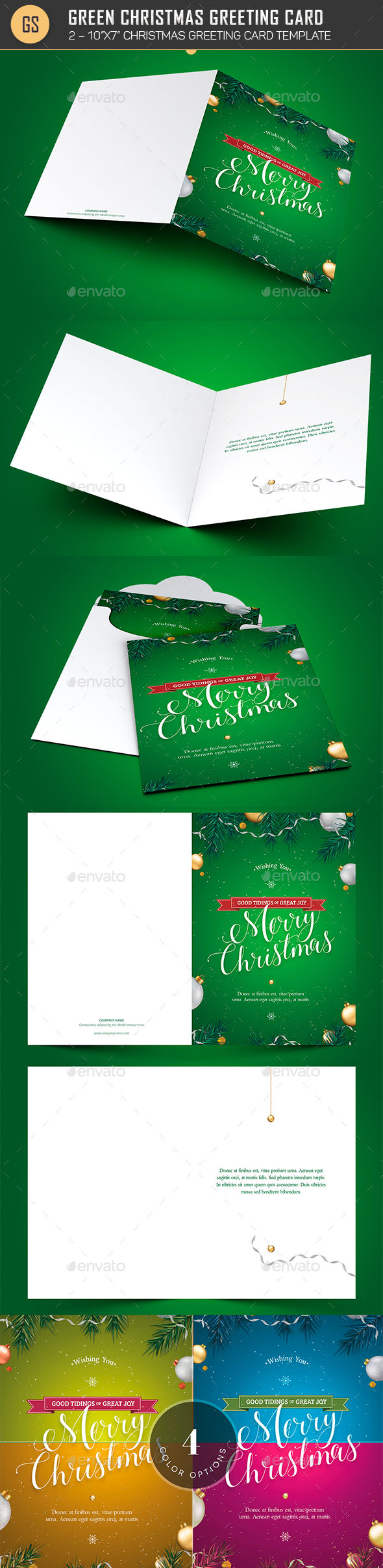 Green Christmas Greeting Card Template - Greeting Cards Cards & Invites