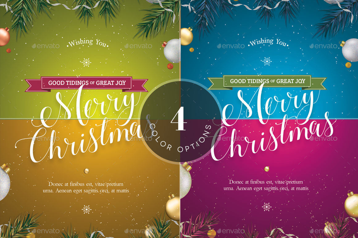 Green Christmas Greeting Card Template By Godserv GraphicRiver - Christmas greeting card template